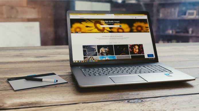 A laptop accessing a website